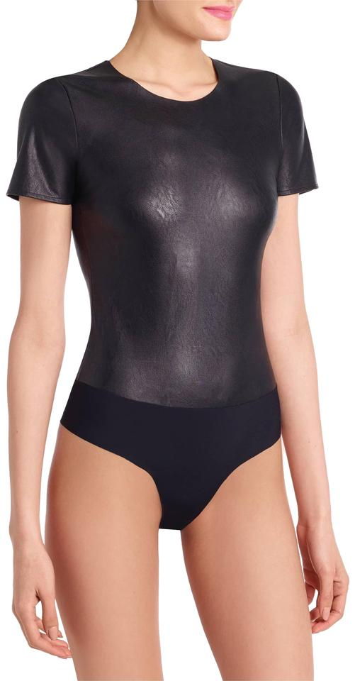 f846f3e419 Commando Faux Leather Tee Thong Bodysuit Black Top - Tradesy