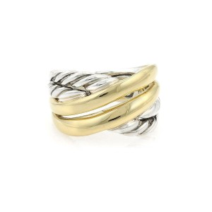 David Yurman 18k Yellow Gold Sterling Cable 12.5mm Crossover Band Ring
