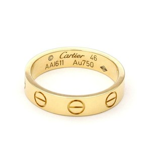 1698cecedcb4 Cartier Mini Love 18k Yellow Gold 3.5mm Band Ring Size 46-US 3.75 Cert