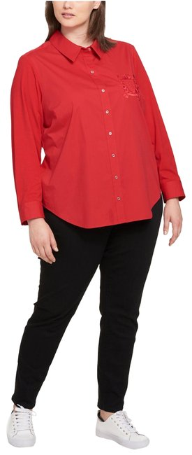 Item - Red Womens Woven Embroidered 2x Button-down Top Size 22 (Plus 2x)