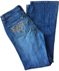 Faded Glory Embroidered Bottom Denim Flare Leg Jeans-Medium Wash