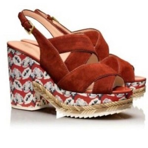Tory Burch red, blue Platforms