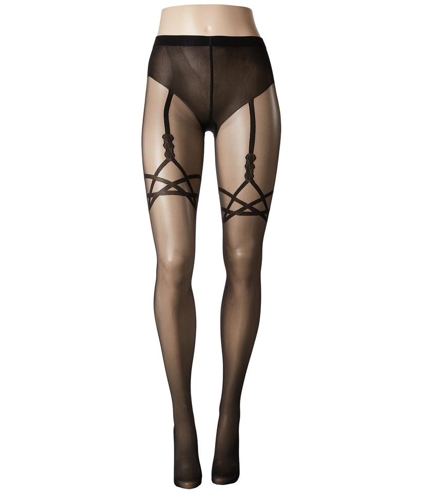 dce17d050 Wolford WOLFORD Designer KATY Suspender Back Seam Tights in BLACK Sz M NWT  Image 0 ...