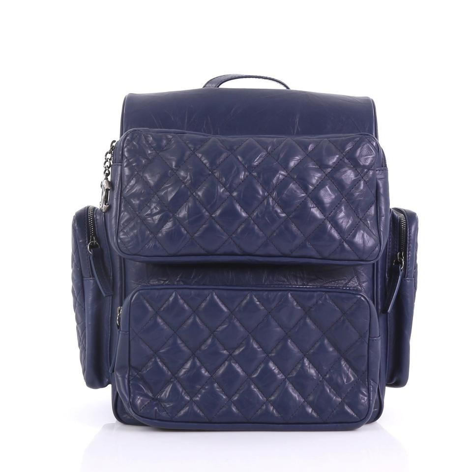 40d6face9a4c Chanel Backpack Casual Rock Airlines Quilted Medium Blue Calfskin ...