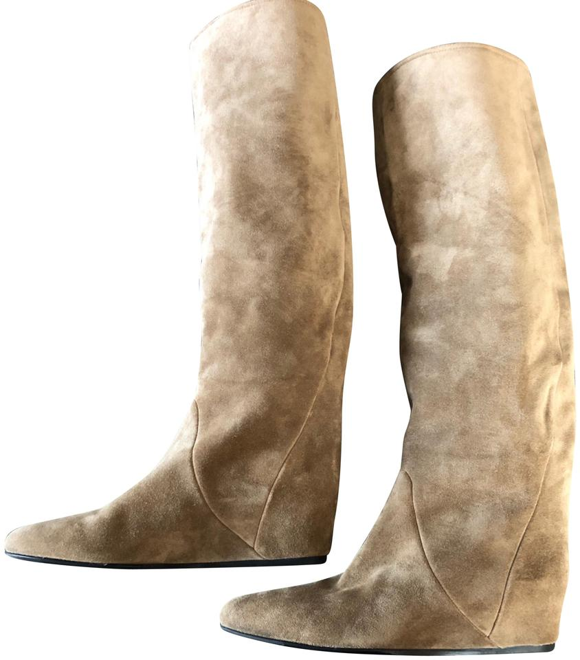 376399df8ad5 Lanvin Taupe Hidden Wedge Boots Booties Size US 7 Regular (M