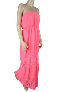 Pink Maxi Dress by Dainty Hooligan Lace Floral Stretch