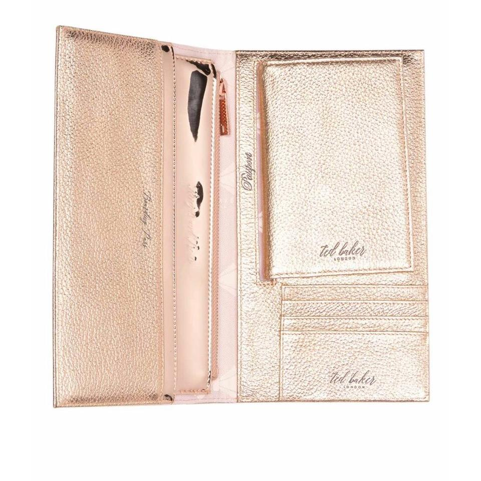f2474172997e4 Ted Baker New London - Kayy Bow Detail Leather Travel Wallet Rose Gold  Clutch