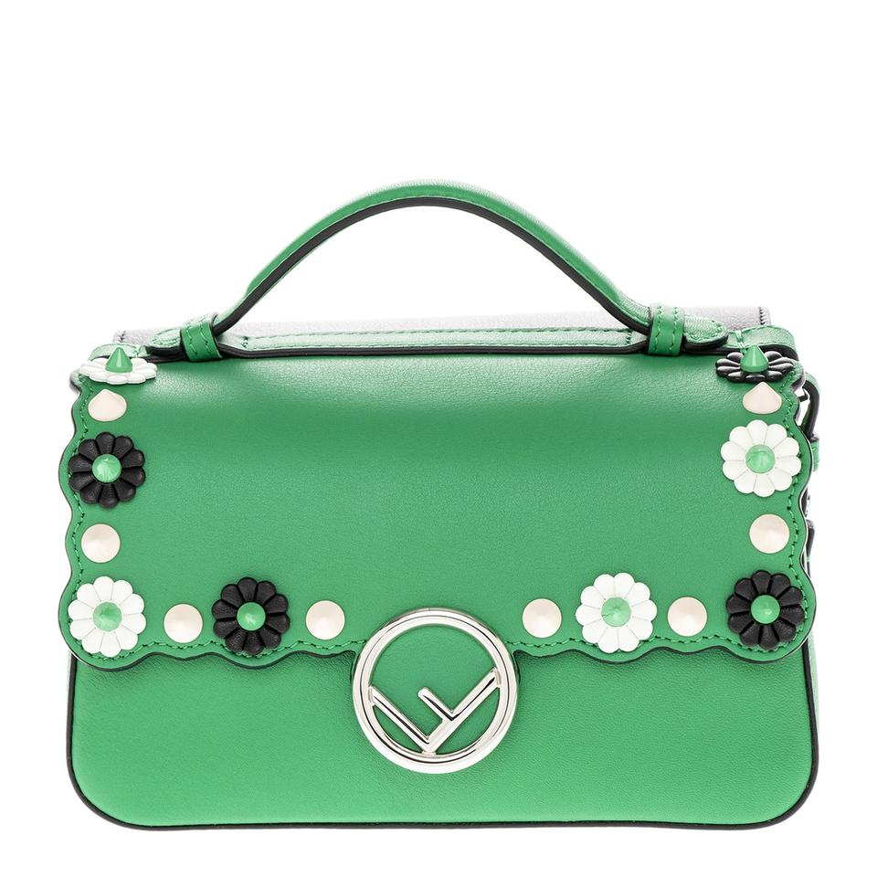 f338178c1083 Fendi Women s Double Micro Baguette with Flower Studs Green + Black ...