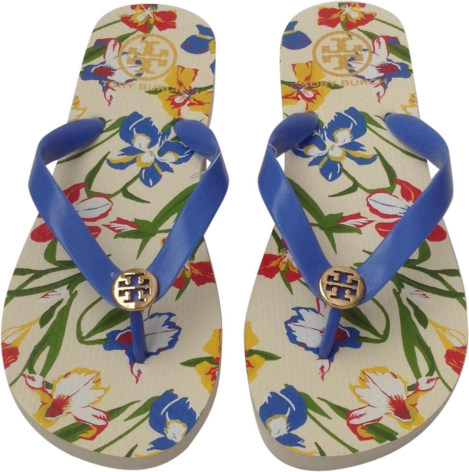 75fe376d072b Tory Burch Blue Flip Flops Iris Painted New Sandals Size US 9 ...