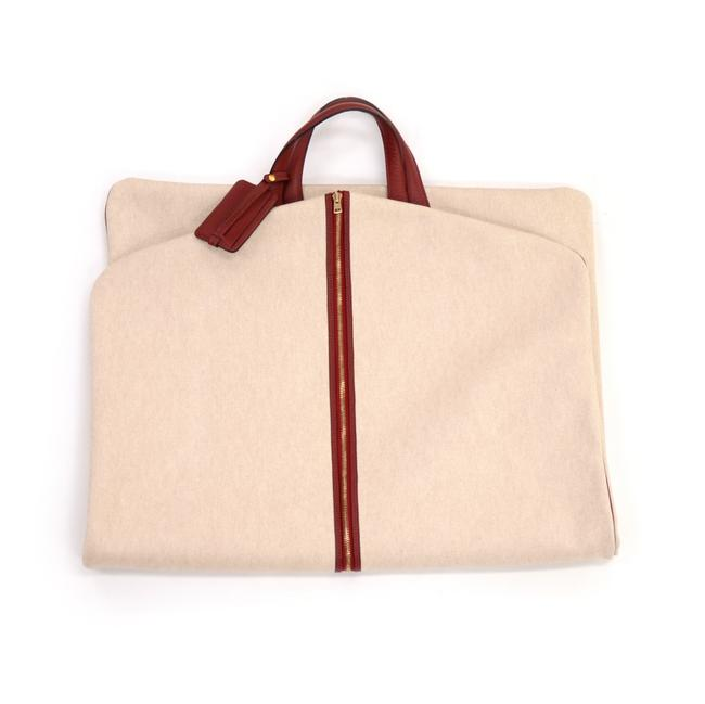 Item - Beige & Leather Garment Red Coated Canvas Weekend/Travel Bag