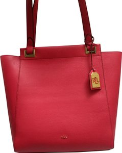 1d7ed9b8ec Lauren Ralph Lauren Faux Leather Large Spacious Gold Hardware Tote in Red