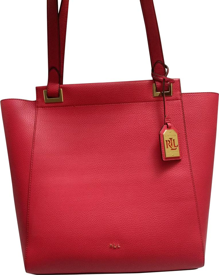 ab93af97678 Lauren Ralph Lauren Faux Leather Large Spacious Gold Hardware Tote in Red  Image 0 ...