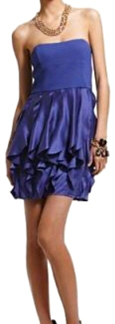 "Item - Blueish Purple ""Zoe"" Cerise Silk Strapless Short Night Out Dress Size 0 (XS)"