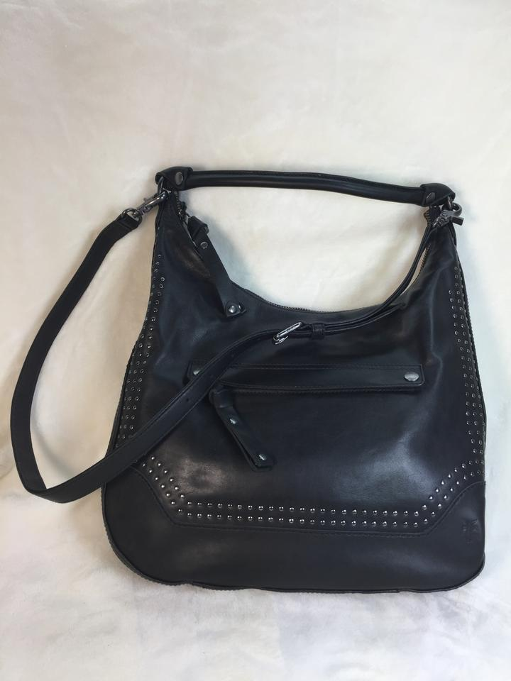 f3c826e7a6 Frye Melissa Lg Zip Stud Black Leather Hobo Bag 25% off retail