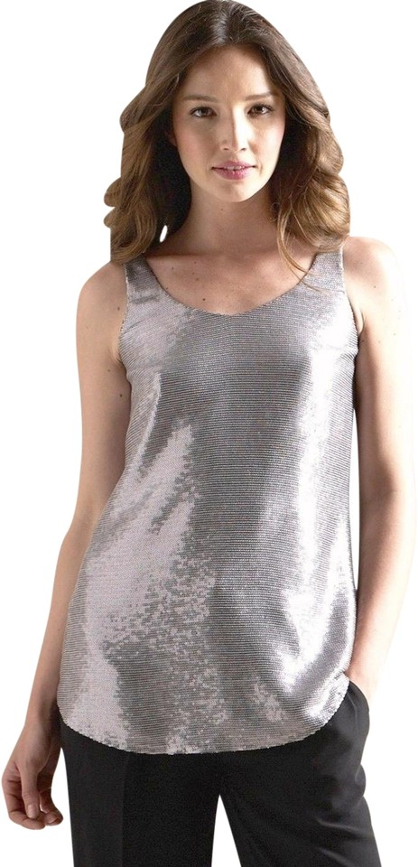 54b2ead3d9d Eileen Fisher Antique Silver Double V Sequin Shell Tank Top/Cami ...