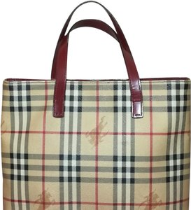 Burberry Vintage Classic Signature Print Excon Tote in Red and Tan a8197bcc5c