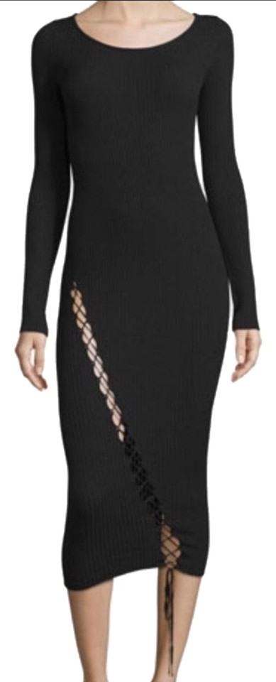 Kendall Kylie Black Knit Midi Sweater Long Casual Maxi Dress Size