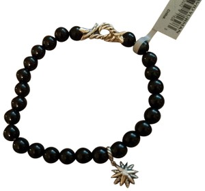 David Yurman David Yurman Spiritual Onyx Bead Bracelet with Starburst Diamond Charm