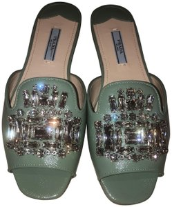 Prada Crystal Slippers Slippers Green Sandals