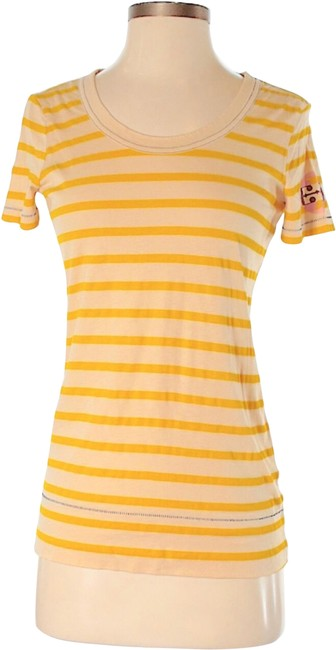 Item - Tan / Yellow Strips T Print T-shirt Tee Shirt Size 00 (XXS)