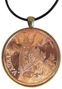 FREYA Freya Goddess of Love -- 24+ Inch Leather Necklace, Copper Coin