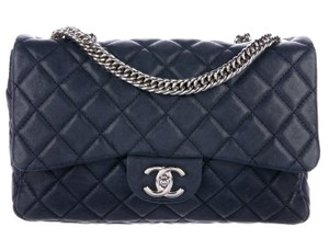 Chanel Double Classic Flap Cc Logo Quilted Lambskin Soft Jumbo Shoulder Bag