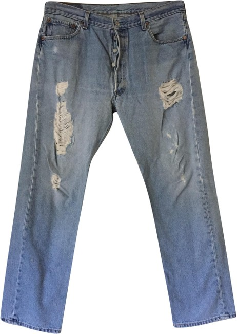 Item - Blue Distressed 501 Vintage Button Fly Relaxed Fit Jeans Size 36 (14, L)