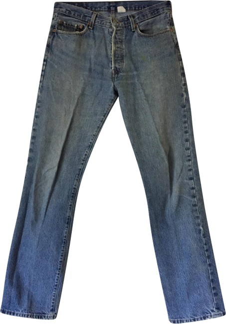 Item - Blue Distressed 501 Vintage Button Fly Relaxed Fit Jeans Size 33 (10, M)