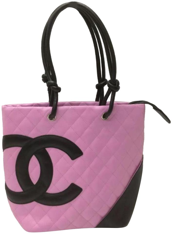 fe64a888a23d Chanel Cambon Quilted Cc Ligne Pink Black Lambskin Leather Tote ...