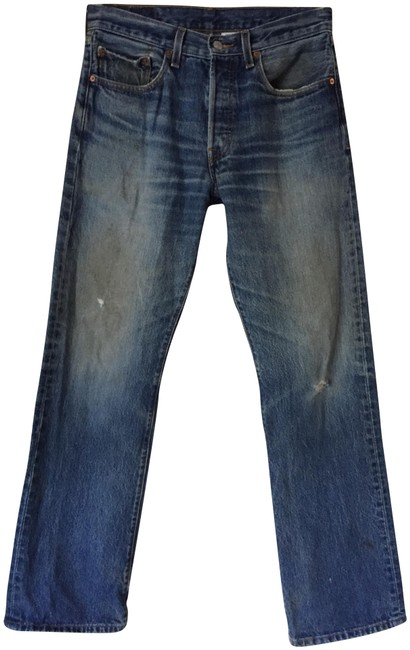 Item - Blue Distressed 501 Button Fly Vintage Relaxed Fit Jeans Size 31 (6, M)