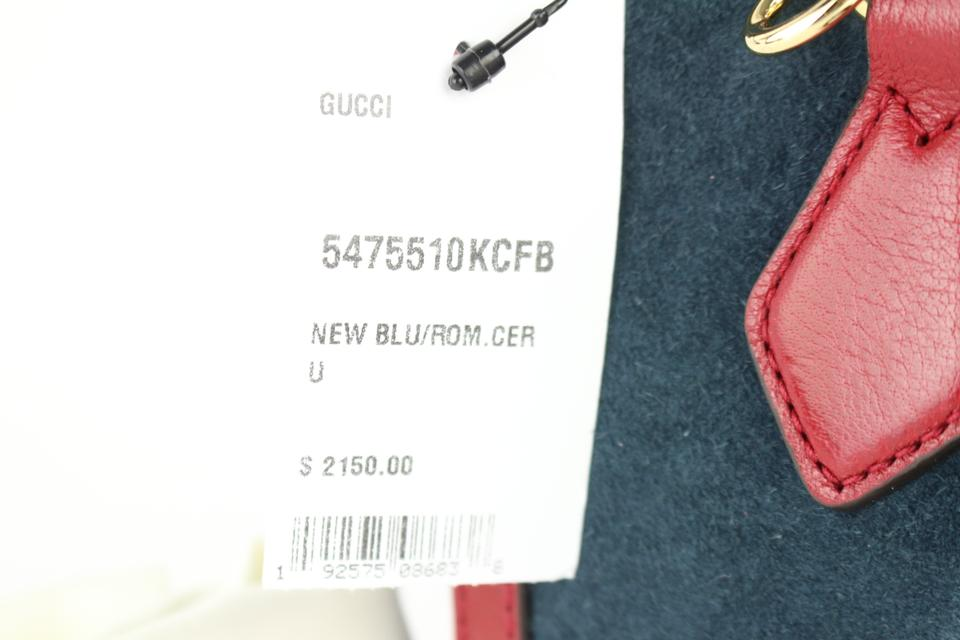 Gucci Navy Red Sherry Small Ophidia House Web Satchel 2way 2gz0129 Blue  Suede Leather Cross Body Bag 12% off retail
