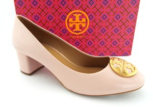 Tory Burch Round Toe Double T Logo Benton Reva Block Heel Blush Pink Pumps
