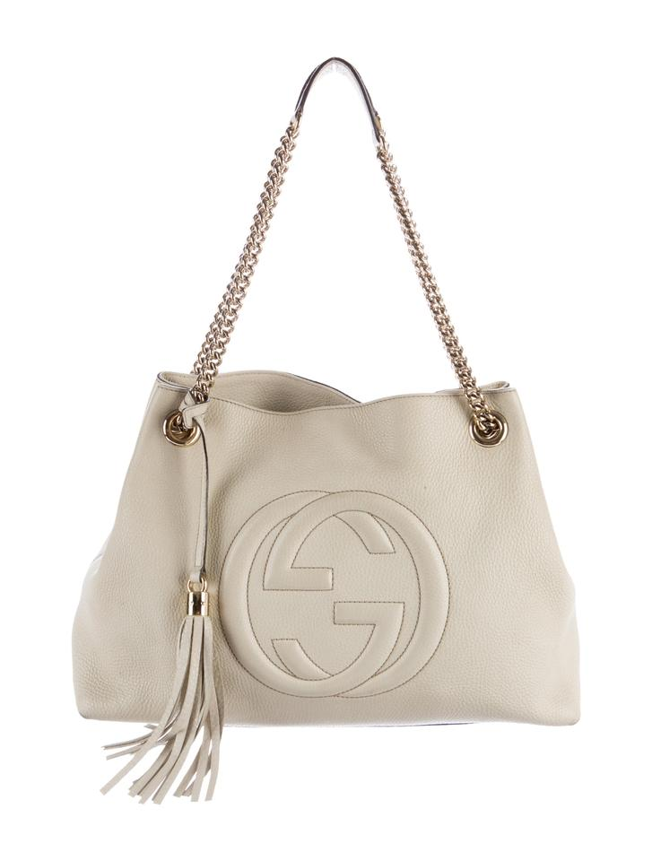8db06031 Gucci Soho [shopify] Fringe Tassel Off-white Chain Tote 9gz0129 Ivory  Leather Shoulder Bag 26% off retail