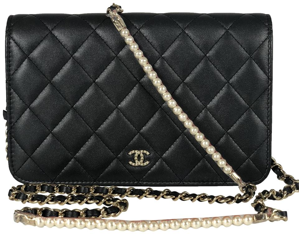 6cb8bf399bc5 Chanel Wallet on Chain Pearl My Shoulder Black Calfskin Leather ...