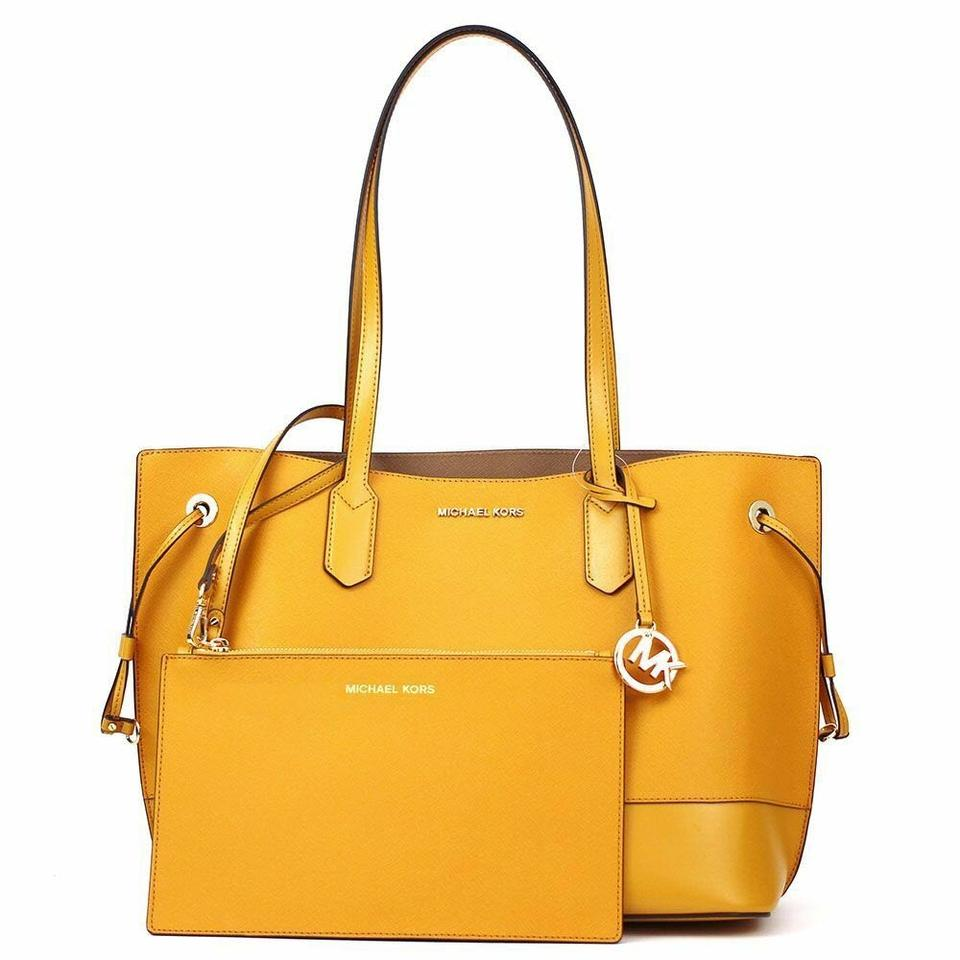 4e669b5a3b4bf ... new zealand michael kors trista drawstring shoulder w pouch yellow  miragold leather tote f681e 98b9d