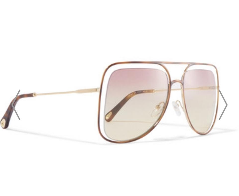 9c3c7bf8848 Chloé Gold Tone and Tortoise Shell Poppy Square-frame Acetate Sunglasses