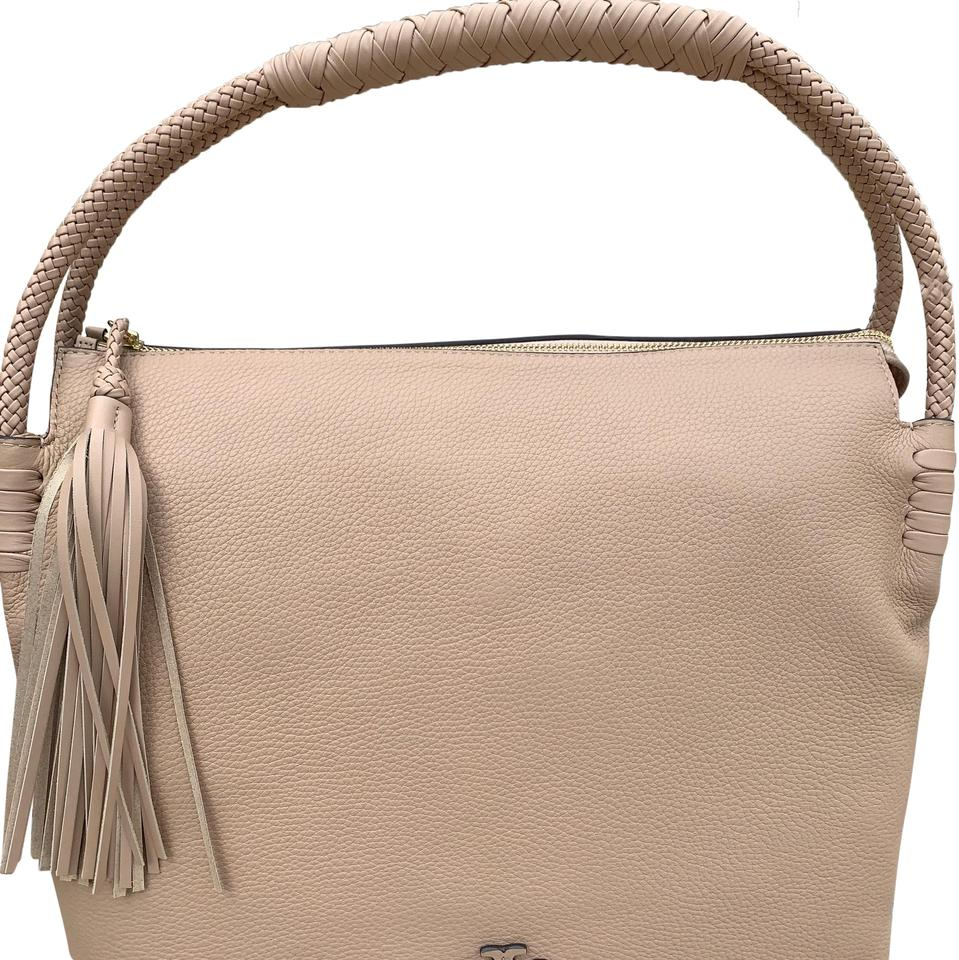 324fdc1f7bc8 Tory Burch Taylor With Tassels Devon Sand Pebble Leather Hobo Bag ...