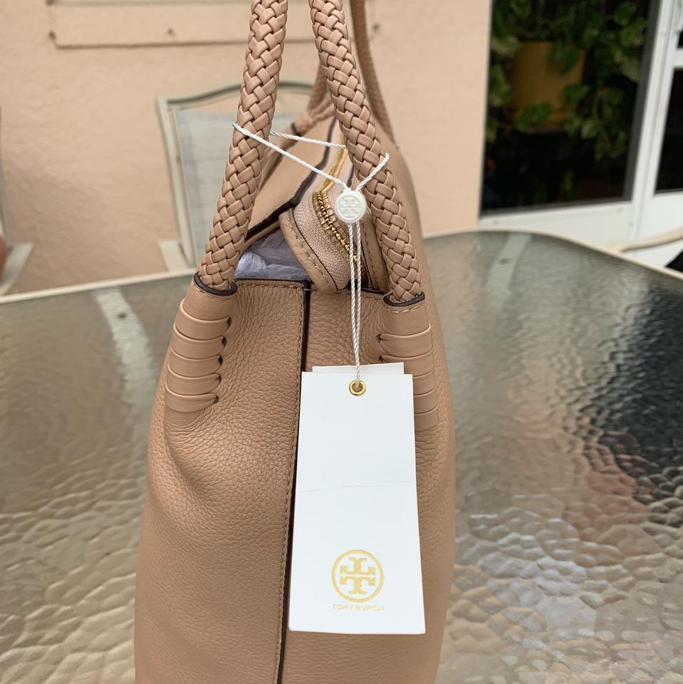 15724edec3fe Tory Burch Taylor With Tassels Devon Sand Pebble Leather Hobo Bag - Tradesy