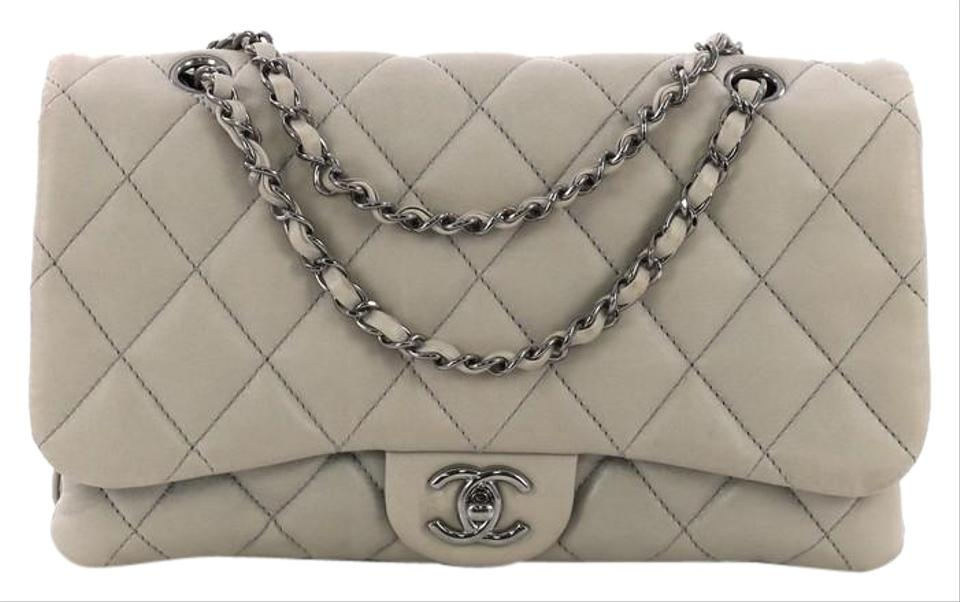 bd0f3594f774 Chanel 3 Quilted Jumbo Grey Lambskin Shoulder Bag - Tradesy