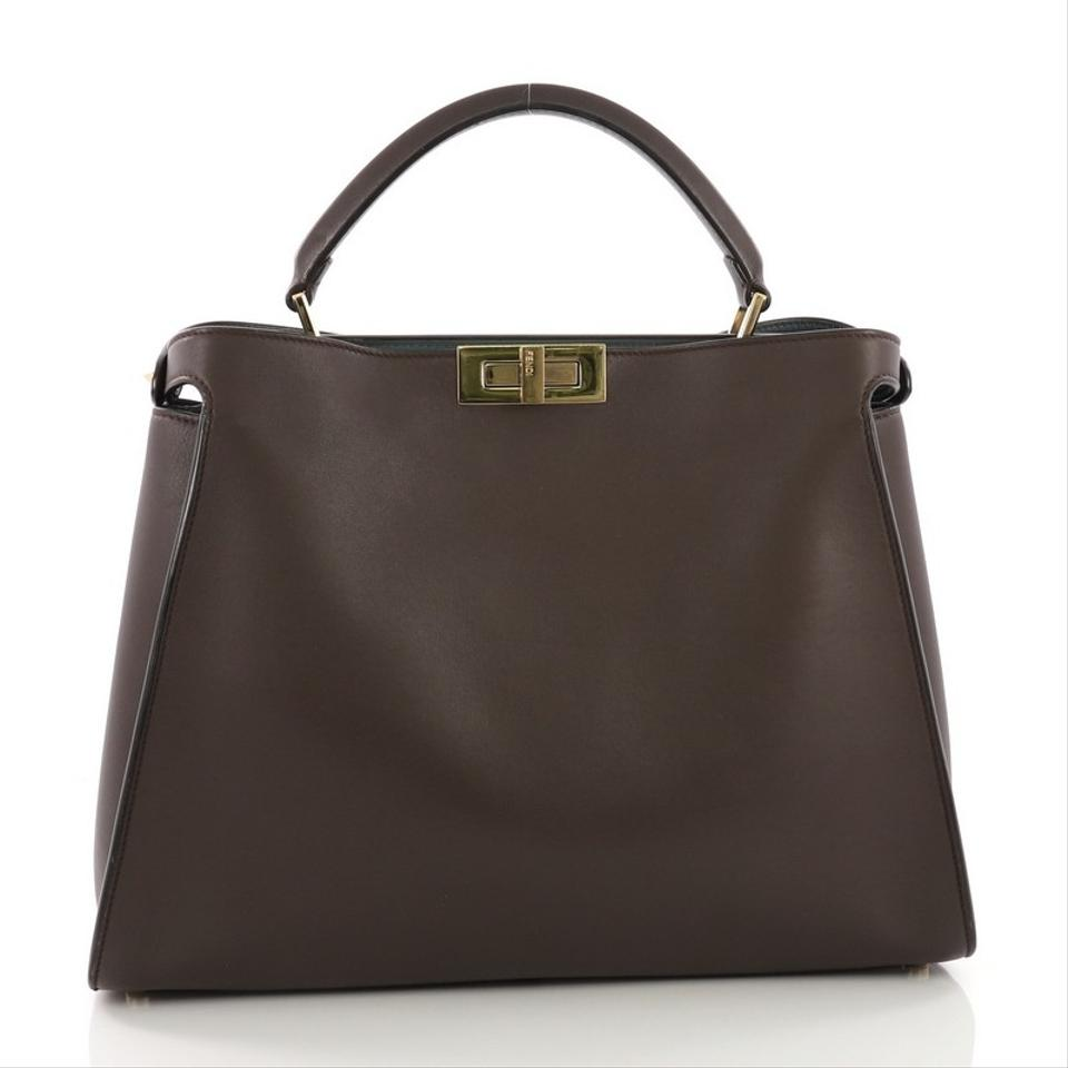 54c28c1a0826 Fendi Peekaboo Essential Brown Leather Tote - Tradesy