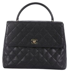 Chanel Handlebag Leather Tote in black