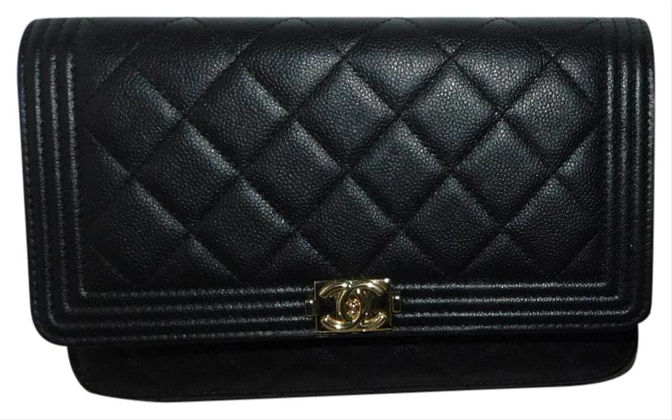 cfccee5b401025 Chanel Boy Wallet On A Chain Black Quilted Caviar Cross Body Bag ...