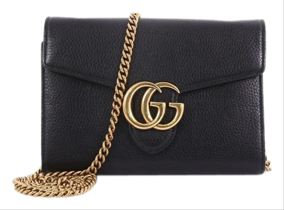 1400ee8d58f0 Gucci Chain Wallet Marmont Gg Mini Black Leather Shoulder Bag - Tradesy