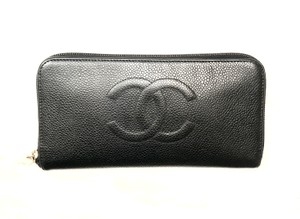 da55e59892d0ce Chanel Black Timeless Caviar Cc Zip Around Wallet - Tradesy