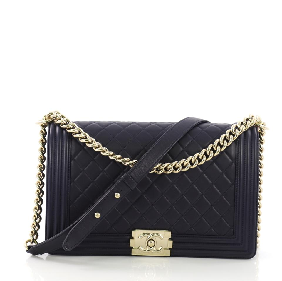 68ea137091965c Chanel Classic Flap Boy Quilted New Medium Navy Blue Lambskin Leather  Shoulder Bag