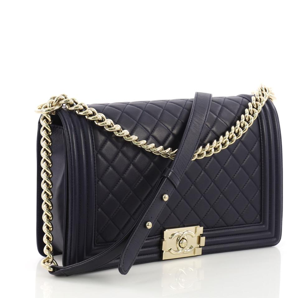 0755117d285635 Chanel Classic Flap Boy Quilted New Medium Navy Blue Lambskin ...