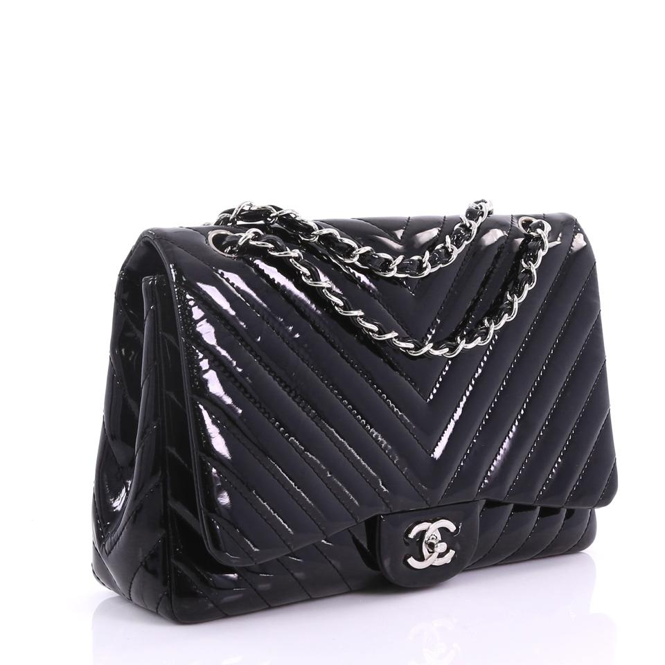 987022ce09aa23 Chanel Classic Flap Classic Single Chevron Jumbo Black Patent Leather  Shoulder Bag - Tradesy