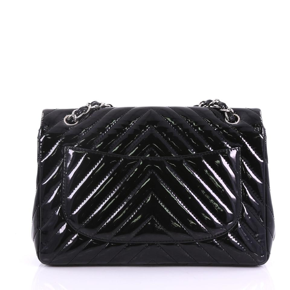 eda7c4e60a7154 Chanel Classic Flap Classic Single Chevron Jumbo Black Patent Leather Shoulder  Bag - Tradesy