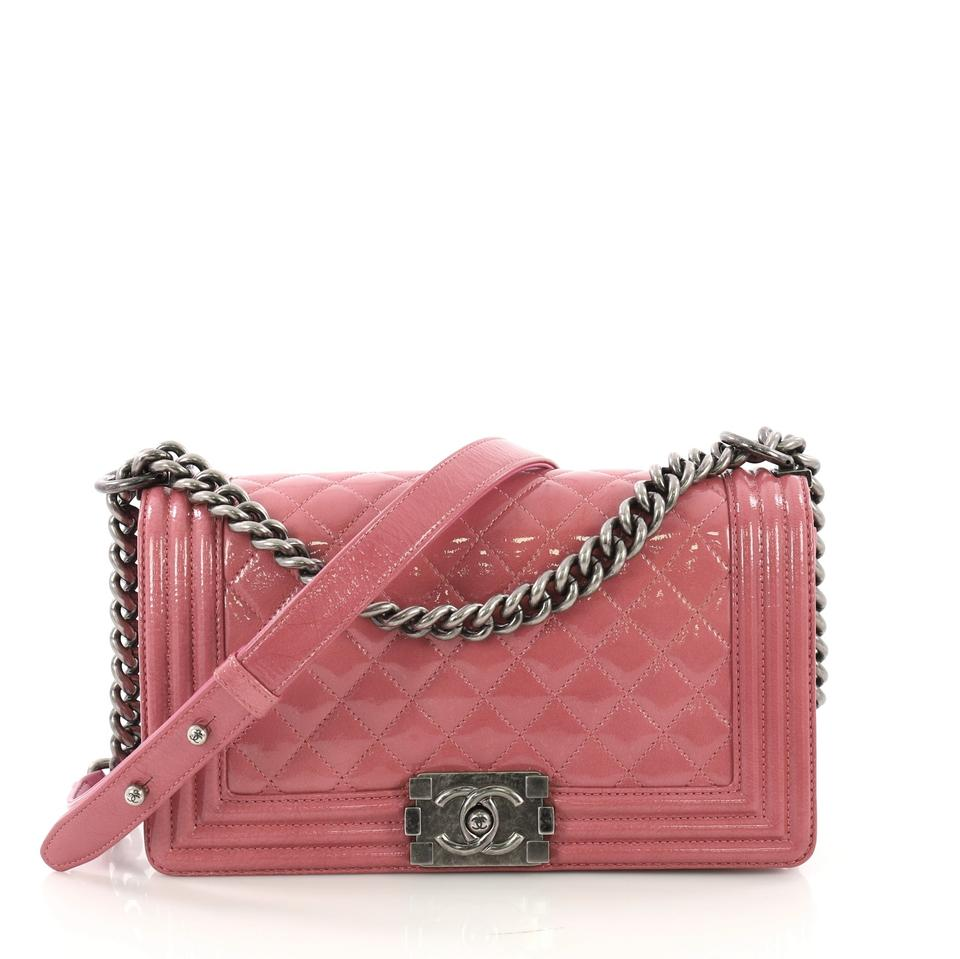 59ebd34f6f18 Chanel Classic Flap Boy Quilted Crinkled Old Medium Pink Patent Leather  Shoulder Bag