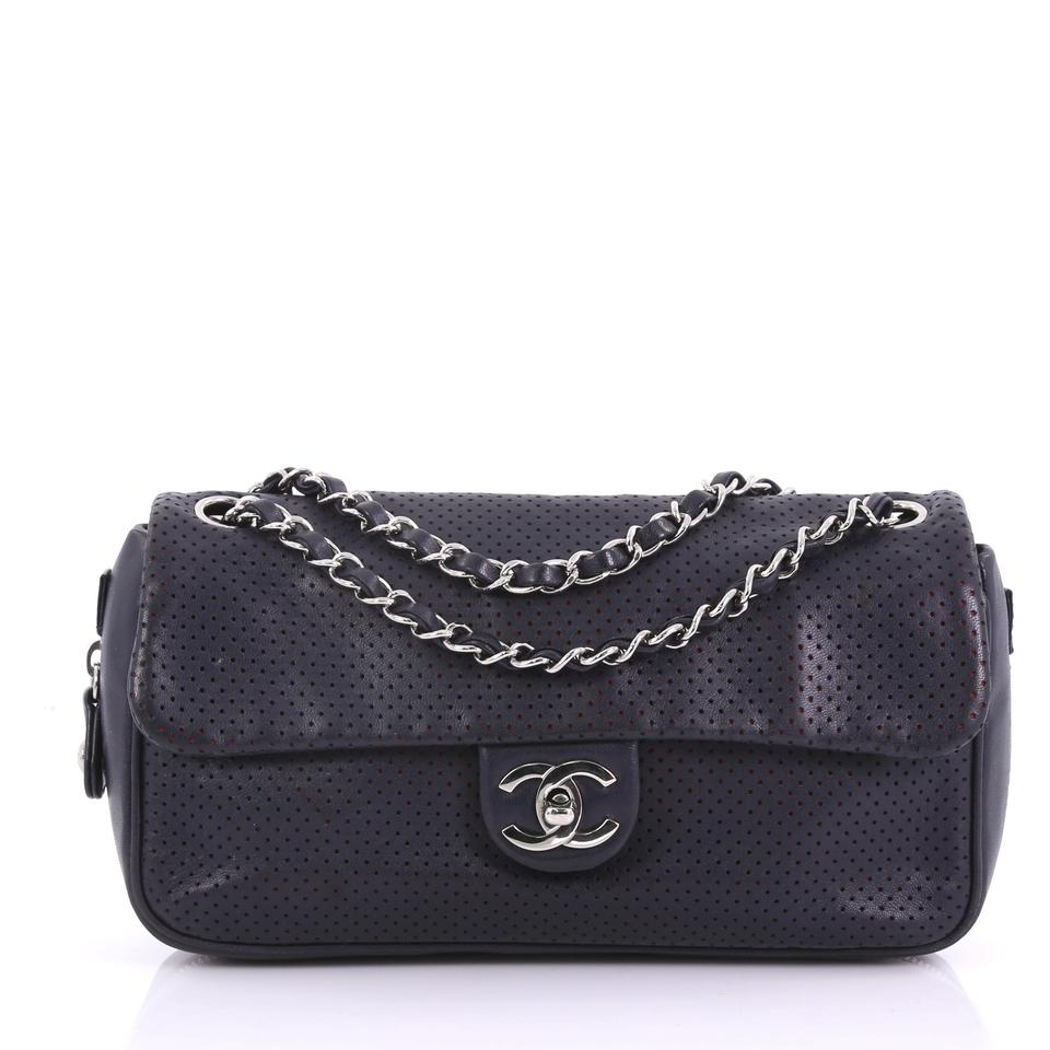 6031ee5f6f627a Chanel Classic Flap Baseball Spirit Perforated Medium Navy Leather Shoulder  Bag